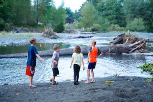 Image of 4 children during a Northlake UU camping trip