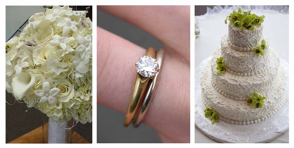 Trio of wedding images flowers wedding ring and wedding cake