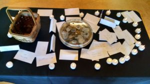 photo of memorial cards at animal blessing